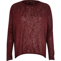 River Island Womens Dark red metallic handkerchief hem top