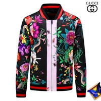 GUCCI 2018 autumn and winter jacket men's floral snake bee printing baseball uniform stand collar casual jacket