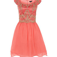 Coral Lace Top 2 in 1 Prom Dress