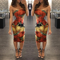 Sleeveless Floral Print Bodycon Midi Dress