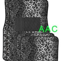 A Set of 4 Universal Fit Animal Print Carpet Floor Mats for Cars / Truck - Snow Leopard