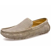 Mens Casual Breathable Leather Slip On Loafers