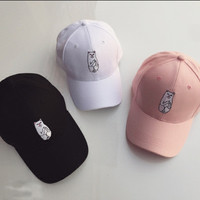 Fashion Women Hidden Middle Finger in Pocket F Off Cat Appliques Hip Hop Baseball Cap Hat _ 5019