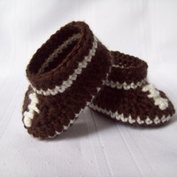 Crochet Baby Football Booties // Baby Boy Football Shoes // Newborn to 3 Months