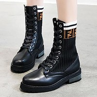Wearwinds FENDI Autumn Winter Fashion Women Casual Leather Stretch Knit Boots Shoes Martin Boots