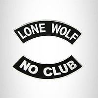 LONE WOLF PATCHES SET NO CLUB BLACK & WHITE MOTORCYCLE BIKER VEST JACKET