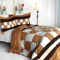 Happy Song Quilted Patchwork Down Alternative Comforter Set in Twin Size