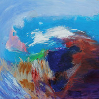 """Abstract Landscape Painting Acrylic Modern Art """"On the Edge of the World"""""""