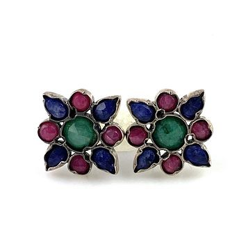 Emerald, Ruby & Sapphire Sterling Silver Star Clutch Back Earrings