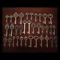 Keys to the Kingdom - Skeleton Keys - 36 x Vintage Keys Antique Bronze Brass Skeleton Key Skeleton Keys Set