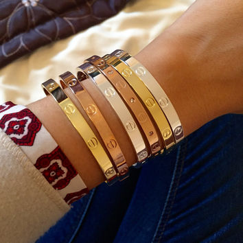 Screw Detail Band Bracelet Cartier Fashion Style Rose / Gold / Silver