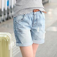 Women Denim Shorts Jeans Casual Summer Style Jeans short 2017 Solid Blue Plus Size Hole Jeans Short feminina shorts
