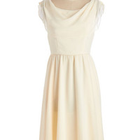 ModCloth Vintage Inspired Long Cap Sleeves A-line Pas de BourrC)e a Day Dress in Ivory