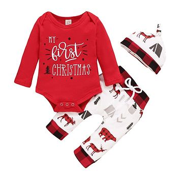 Christmas Baby Outfits 2020 Winter Cotton 3Piece Set Bodysuit+Pants+Hat Xmas Print Long Sleeve Baby Clothes for Boy Girl D30