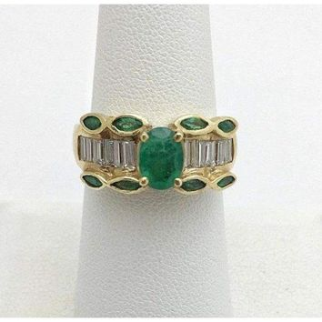 Natural Oval and Marquise Emerald Yellow Gold Ring with Baguette Diamonds 14K