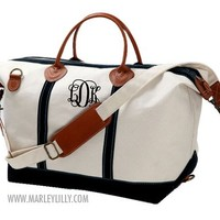 Monogrammed Navy Sunshine Satchel Duffle Bag | Marley Lilly
