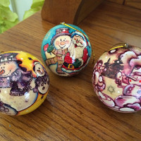 Set of 3 Wood Chistmas ornaments, hand painted original design, Decorative, collectible item wood