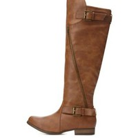 Buckled Over-the-Knee Riding Boots by Charlotte Russe - Cognac
