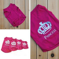 Lovely Pet Dog Cat Princess T-shirt Clothes Costumes Outfit Vest Summer Coat Sale