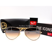 RAY-BAN 3025 112/85 Aviator Sunglasses Matte Gold~Brown Gradient 58mm (Standard)