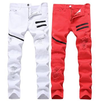 Casual Men Zippers White Red Ripped Holes Decoration Slim Stylish Pants Jeans [127701680157]