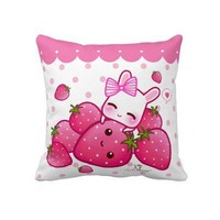 Cute pink bunny with kawaii strawberries throw pillow from Zazzle.com
