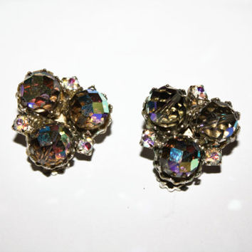 Vintage Blue AB Rhinestone Earrings, Vintage Clip On Earrings, Cluster Earrings, 1950s Estate Jewelry