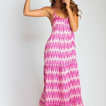 Aila Blue || Coolie Maxi Dress in Hot Pink