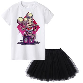 1Y To 12Y Suicide Squad Harley Quinn Kids Girl Clothing Set Summer Cartoon Children Clothes 2 Pieces T-shirt + Skirt Set Toddler