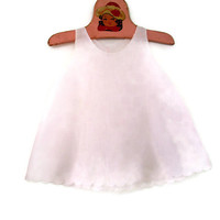 Vintage Baby Slip Handmade Soft Pink Cotton with Delicate Scalloped Edging 12 Months