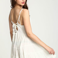 White Lace Up Tiered Crepe Dress - LoveCulture