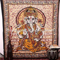 Ganesha Wall Hanging, Hippie Boho Tapestry Bedspread, Queen Ethnic Home Decor Art, Hippie God Wall Hanging, Indian Tapestry, Gypsy Tapestry