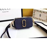 Marc Jacobs  stylish women's patchwork color shoulder bag is a hot seller of casual shopping bags Black