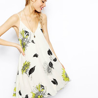 Strap Sunflower Print Mini Dress