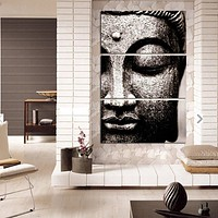 BANMU Frameless Gray 3 Panel Modern Large Oil Style Buddha Wall Art Print on Canvas Home Living Room Decorations Wall Art
