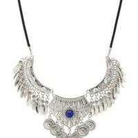 Silver Dangling Metal Statement Necklace by Charlotte Russe