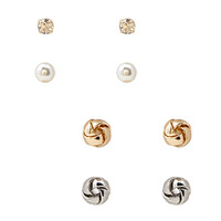 FOREVER 21 Knotted Faux Stone Stud Set Gold/Silver One