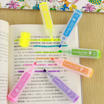 1pcs Korean Stationery Multicolour Candy Color Neon Marker Highlighters Watercolor Kids Drawing School Supplies