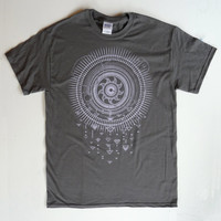 Solar Storm in Pale Lavender on a Mid-Tone Gray Softstyle 100% Cotton Tee