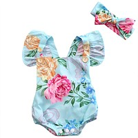 Summer 2017 Newborn Infant Baby Girl Floral Button Romper Backcross Jumpsuit Clothes Outfits Sunsuit Clothing