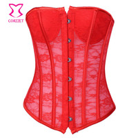 Red Transparent Floral Lace Padded Push Up Bustier Top Women Corset Sexy Lingerie Gothic Clothing Korse Espartilhos E Corpetes