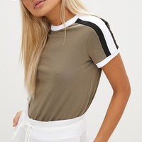 Khaki Triple Stripe Shoulder T Shirt
