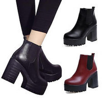 Women Ankle Boots Chunky Platforms Block High Heels Zipper Shoes