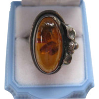 Vintage Silver Amber Ring