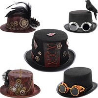 Retro Gothic Men Steampunk Period Crow Hat Cosplay Halloween Women Gear Feather Nonwoven Mini Hat Magician Cap Stage Performance