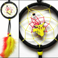 """Pokemon Pikachu dreamcatcher, small black 3"""" ring, yellow and red web"""