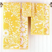 Lily Towel Collection, Yellow and White - Bath Towels - Cost Plus World Market