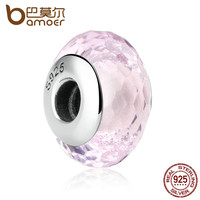 BAMOER Fascinating 925 Sterling Silver Pink European Murano Glass Beads Charms F