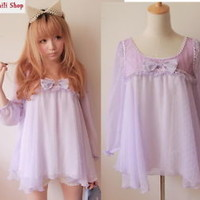 Girls Kawaii Princess Cute Sweet Dolly Lolita Chiffon Batwing shirt Top Purple