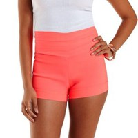 Neon Coral Neon Stacked High-Waisted Shorts by Charlotte Russe